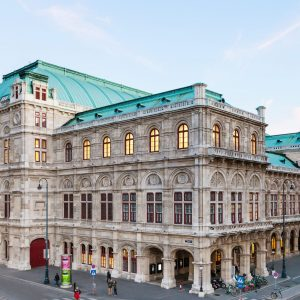Vienna, Austria - September 28, 2015: view of Vienna State Opera House and people on Albertinaplatz. Wiener Staatsoper produces 50-70 operas and ballets in about 300 performance per year