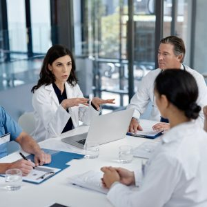 Shot of a group of doctors having a meeting in a modern hospital